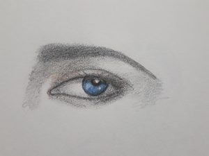 Watercolour pencil of an eye with the iris features in ultramarine blue