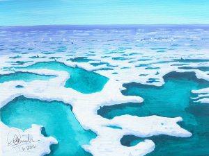 Acrylic Landscape of an arctic ice flow showing gaps in the ice and very cold water
