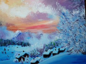 Acrylic Landscape featuring a winter view of a mounting with small log cabins bathed in blue light with a fiery sunset