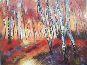 Acrylic painting of a highland forest featuring rich warm colours of red, orange and mauve