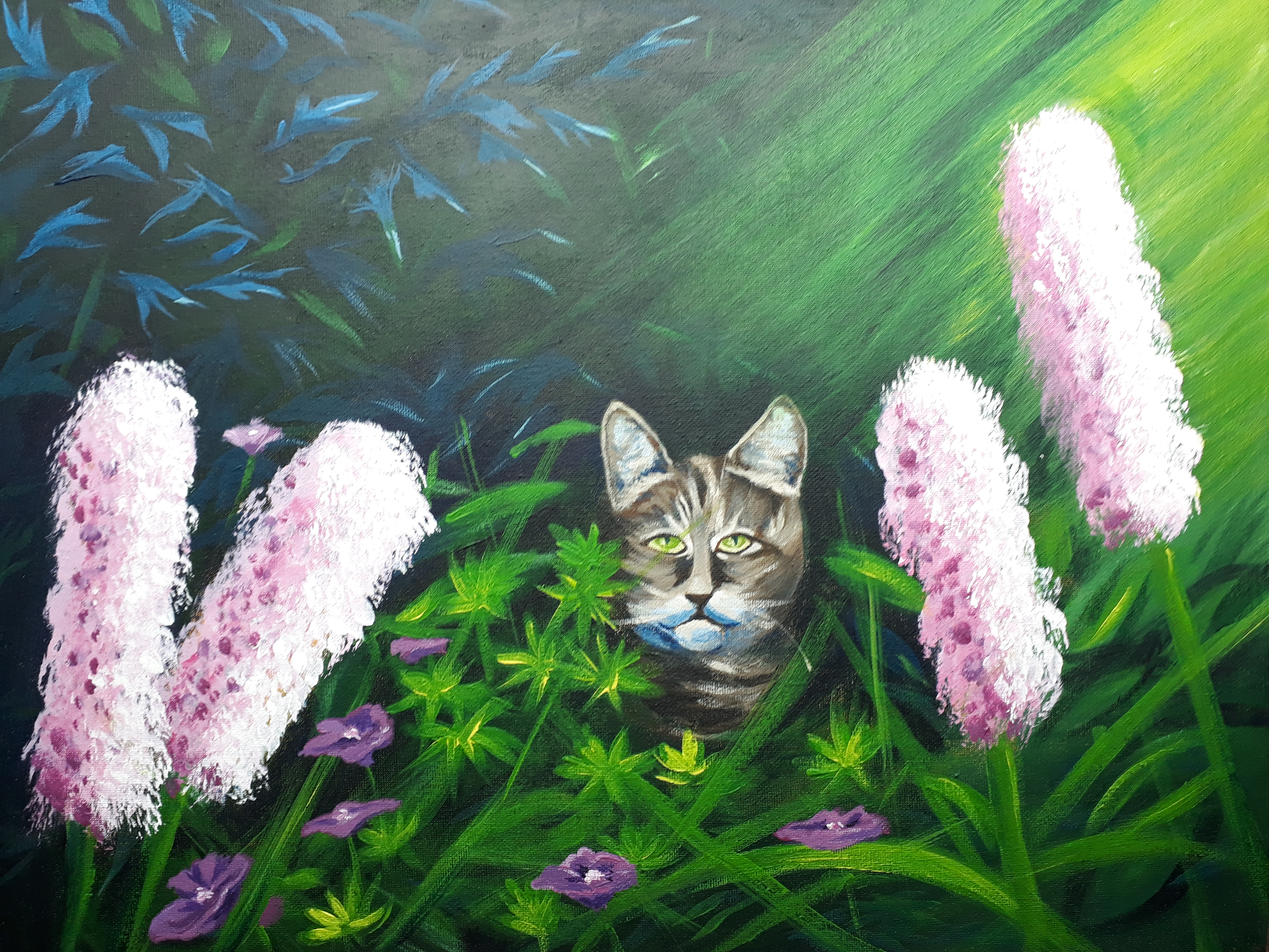 Acrylic Painting of a tabby cat in a garden hidden behind big pink bottllebrush flowers