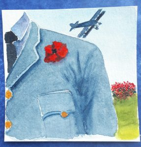 Watercolour painting of the shoulder of an airman with a World War 1 Plane in the background