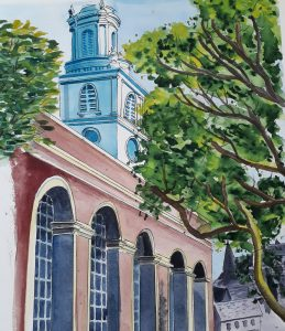 Watercolour of historic tower overlooking St Botolph's Park in the City of London