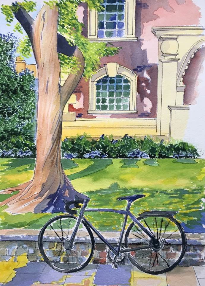 Watercolour of a bicycle in St Botolph's Park City of London