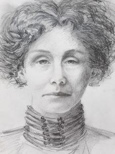 pencil sketch of Emmeline Pankhurst, Suffragette